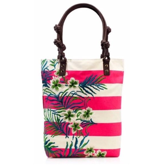 Juicy Couture Canvas Fern Print Tote Bag NWT